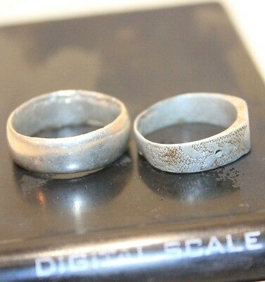 Lot 2 Silver Original ancient ring artifact intact original patina 6.3g 3