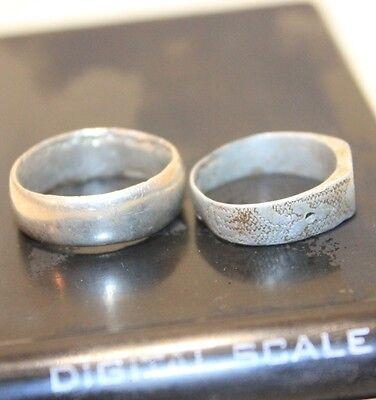 Lot 2 Silver Original ancient ring artifact intact original patina 6.3g 3