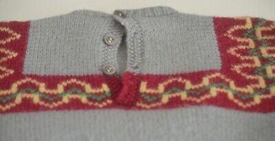 Vintage Hand Knit Girl's Wool Sweater & Skirt Outfit Uu306 7