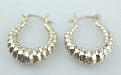 0e5f73b9b ... Small Puffy Sterling Silver Shrimp 1 Inch Long Pierced Hoop Earrings  Snap Close 2