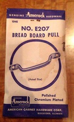 NOS Vintage Amerock E207 Hardware Chrome Bread Board Pull Cabinet Drawer Handle 3