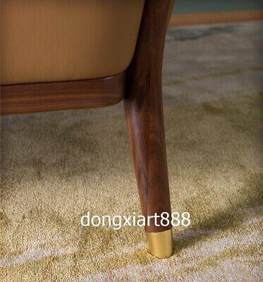 Black walnut solid wood furniture leather dining room coffee house Leisure sofa 6