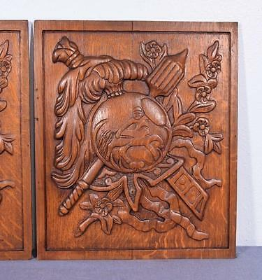 *Pair of Vintage French Carved Solid Oak Panels Arts Themed with Centaur 3 4