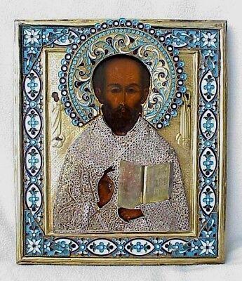 19c. RUSSIAN IMPERIAL GOLD ICON ORTHODOX BISHOP NICOLAS MYRA WOOD EGG TEMPERA 3