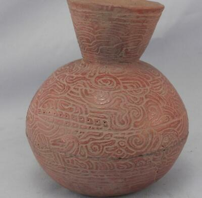 Antique Mayan Pre Columbian Pottery~Incised Red Vessel~Image of An Elephant! 7