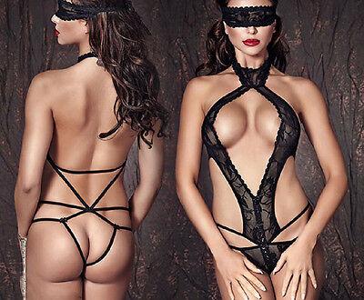 Sexy Micro Body Pizzo Nero Stringato Dietro Mascherina Nude Back Strappy Teddy S 2