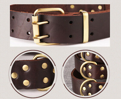 New Top Quality Handmade Pet Dog Collar Genuine Real Cow Leather Dog Collar M L 4