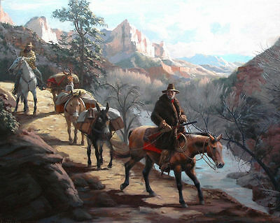 "HD Art Canvas Print Oil Painting ,Western, Travelers, Canyons , 16""x20"" 2"