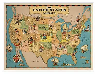 """Two Map Set Indiana /& USA by Ruth Taylor White circa 1933-18/"""" x 24/"""" prints"""