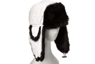 5d4c4549682 ... 1 available Surell Genuine Rabbit Fur Trim Quilted Trooper Hat White  With Black Fur NWT 2