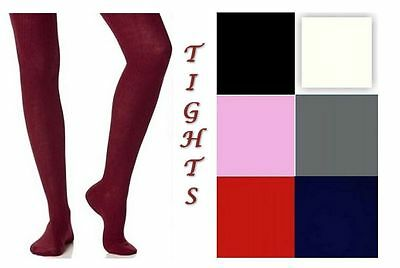 2 Pairs Cotton Rich Girls School Tights nifty Ages 0 - 13 Years Assorted Colours 2