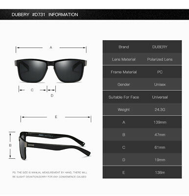DUBERY Men Women Polarized Sunglasses Driving Eyewear UV400 Outdoor Sport Shades 9