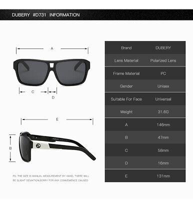 DUBERY Men Women Polarized Sunglasses Outdoor Sport Driving Fishing Shades UV400 7