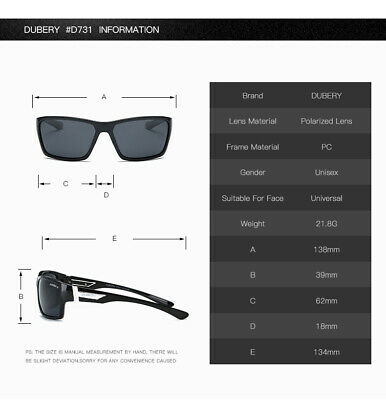 DUBERY Mens Womens Vintage Polarized Sunglasses Driving Eyewear Shades UV400 Hot 10