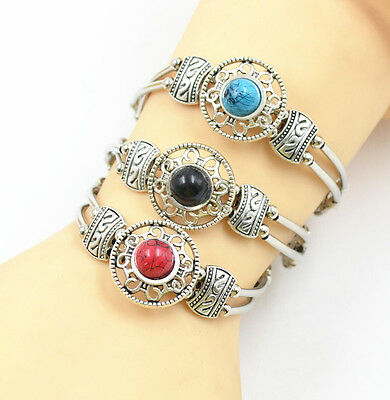 Adjust Bracelet  Woman Fashion Jewelry Tibetan Silver Pld Turquoise Bead Bangle 4