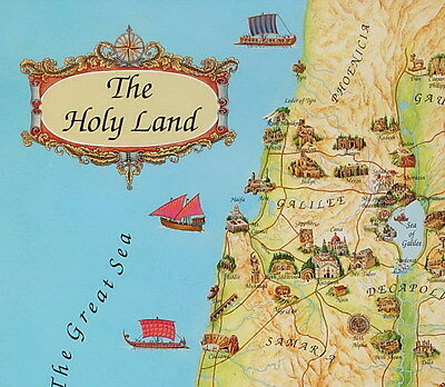 HOLY LAND MAP 4 Placemats in Biblical Time Jesus Places, Bible ... Map Of Holy Land In Jesus Time on