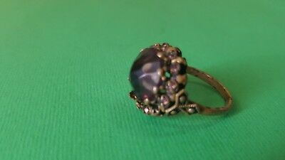 Old  ring brass. bronze With violet STONES from beginning 20th century