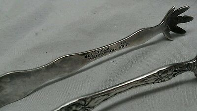 Nice  2 TH. Marthinsen  Norway Wild Rose Silverplate ice cube sugar tongs 2