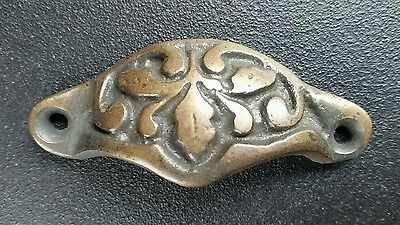 "6 Solid antique brass 2 7/8"" oak leaf apothecary cabinet drawer handles #A3 5"