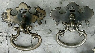 Lot of 5 Drawer Pulls Antique Rusty Chrome Pieces 2