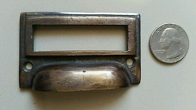 """6 tarnished brass File Apothecary drawer pull Handles 2 3/4"""" Label holders #F1 3"""