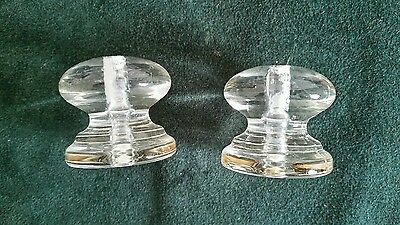 Pair of big heavy glass cabinet knobs or drawer pulls 1 3/4 wide  1 1/2 in. tall 4