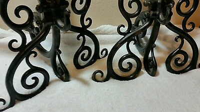 "Amazing Antique 26"" Gothic Dragon Fireplace Andirons Iron Stunning Rare 6"