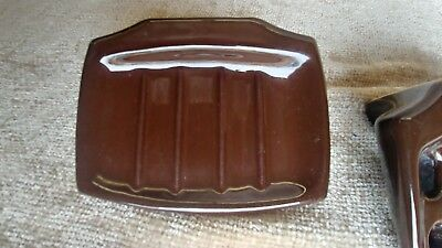 Vintage Brown Wall Mount Soap Dish Toothbrush Holder Ceramic Porcelain 6
