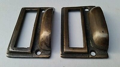 "2 tarnished brass File Apothecary drawer pull Handles 2 3/4"" Label holders #F1 5"