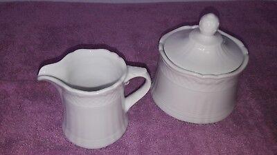 Zuckerdose & Milchkännchen Eschenbach Porzellan  La Reine weiß Neuw.  unbenutzt