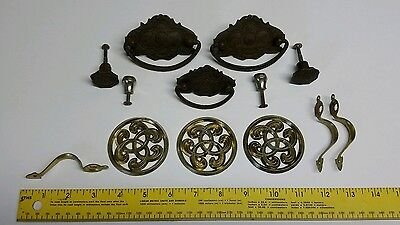 Vtg Antique Brass Medallion Metal Decorative Drawer Cabinet Door Pull Lot Of 13 7