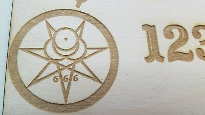 Wooden Ouija Board & Planchette w/ Aleister Crowley Symbols Engraved On Wood 5