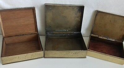 3 Antique Chinese Brass Hand Engraved Cigarette Box. Symbols. 7