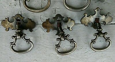 Lot of 5 Drawer Pulls Antique Rusty Chrome Pieces 3