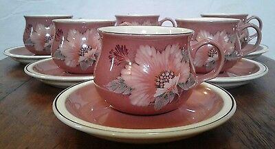 Denby Damask Teacup and Saucer Set of 6 Pink Floral 3
