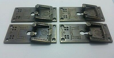 """4 Arts and Crafts Mission Handles Brass Square Ring pull w. Escutcheon 3"""" #H28 3"""