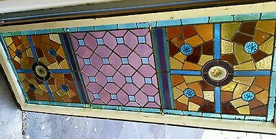Antique American Aesthetic  Stained Leaded Glass Window