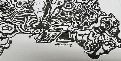 Schneider Original Art Pen And Ink Drawing Abstract Black