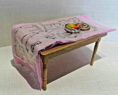 Dollhouse Miniature Pattern Pinned to fabric & filled sewing tin. TABLE NOT INC. 2