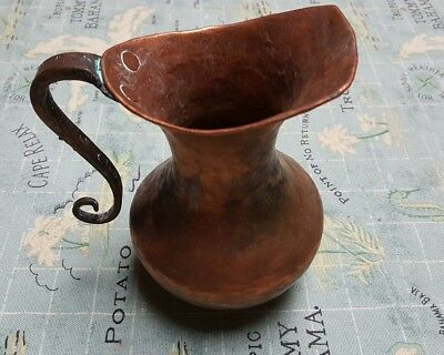 "Vintage Hammered Copper Pitcher 6"" Arts & Crafts 2"