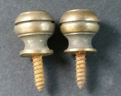 """2 Solid Brass SMALL Stacking Barrister Bookcase 7/16""""dia Knobs drawer Pulls #KK 5"""