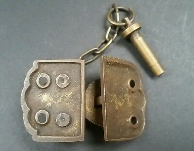 "Unique Vintage Style Cabinet Door Latch Solid Brass Hasp Lock Gate 1 3/4"" #X4 4"