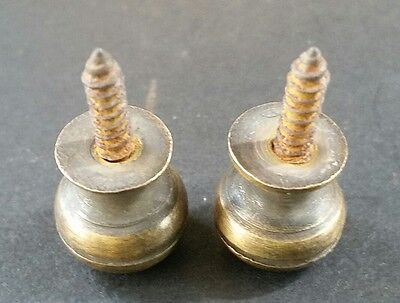 """2 Solid Brass SMALL Stacking Barrister Bookcase 7/16""""dia Knobs drawer Pulls #KK 9"""