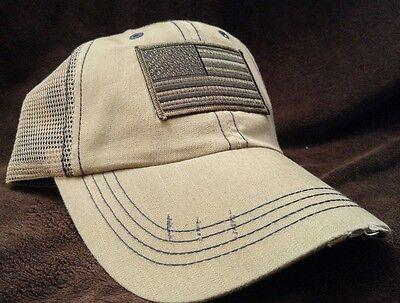 Punisher Blue Line Flag Unstructured Hat Low Profile Cotton Khaki Ball Cap