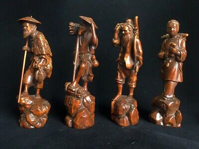 Collection Old Boxwood Hand-Carved Fishermen Woodcutter Cultivator Reader Statue 2