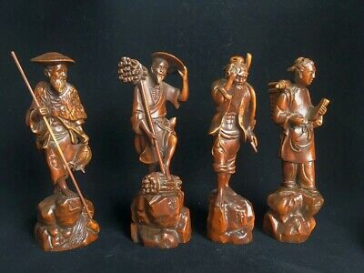 Collection Old Boxwood Hand-Carved Fishermen Woodcutter Cultivator Reader Statue 8