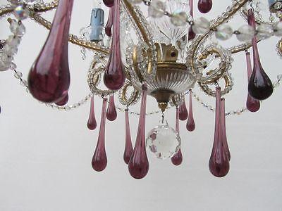 Vintage Italian Crystal Beaded 6-light Chandelier, Purple & Azure drops 9