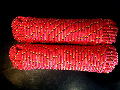 Nr.0 Polypropylen Flechtseil 4mm,30m,Leine,Polypropylen Seil,Schnur,Strick,Rot