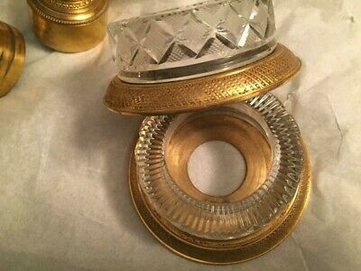 Made In France Gold Bathroom Sink Faucets Cut Beveled Crystal Handles  Exc Cond 2