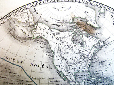 Map of World in Hemispheres Copper Engraving by C.V. Monin, 1834
